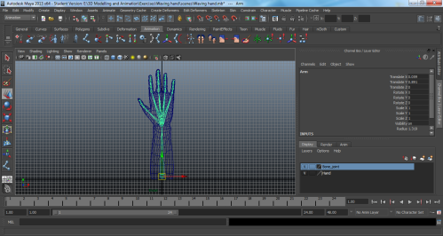 Screenshot of the hand using the joint tool